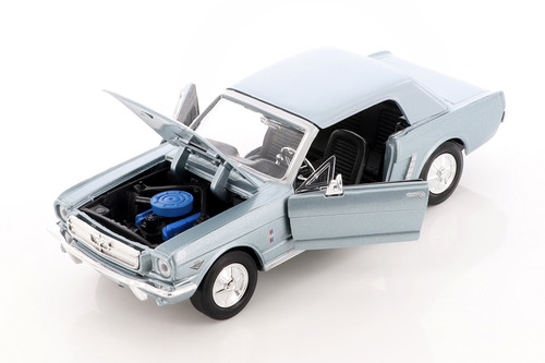 1964.5 Ford Mustang, Light Blue - Showcasts 73273/16D	 - 1/24 scale Diecast Model Toy Car