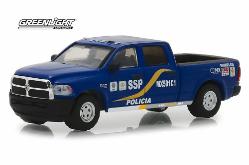 2017 Dodge Ram 2500 Pickup Truck, Mexico City, Mexico Policia - Greenlight 42870/48 - 1/64 Scale Diecast Model Toy Car