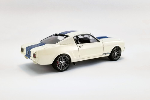 1965 Ford Mustang Shelby G.T.350R Street Fighter, Cream/Ivory and Blue - Acme A1801841SF - 1/18 scale Diecast Model Toy Car