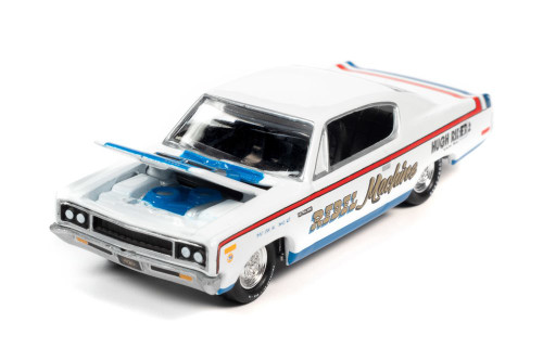 1970 AMC Rebel Machine, Frost White - Johnny Lightning JLMC024/48B - 1/64 scale Diecast Model Toy Car