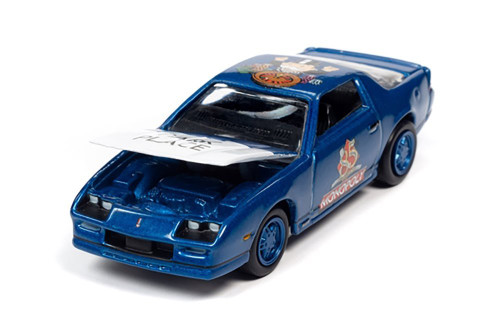 1985 Chevy Camaro with Token Monopoly 85th Anniversary, Blue - Johnny Lightning JLSP123/24 - 1/64 scale Diecast Model Toy Car