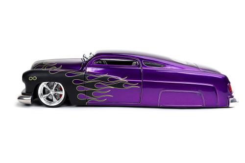 1951 Mercury, Purple with Black Flames - Jada Toys 32305/4 - 1/24 scale Diecast Model Toy Car