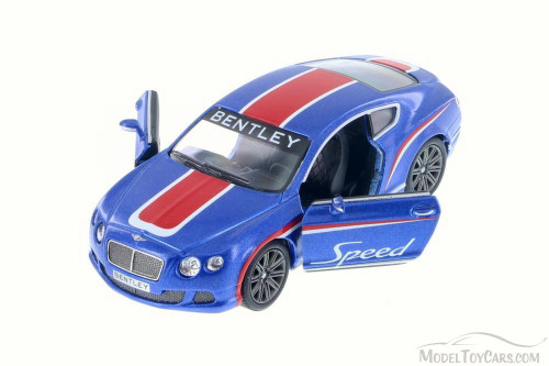 2012 Bentley Continental GT Speed with Decals Hard Top, Blue w/ Red - Kinsmart 5369DF - 1/38 Scale Diecast Model Toy Car