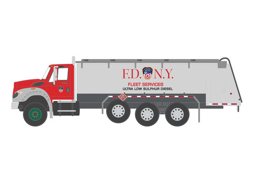 Fire Department City of New York 2018 International WorkStar Tanker Truck, Red and Silver - Greenlight 45110A/48 - 1/64 scale Diecast Model Toy Car