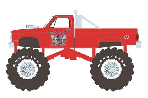 Kings of Crunch 1984 Chevy Silverado Monster Truck, Samson I - Greenlight 49080E/48 - 1/64 scale Diecast Model Toy Car