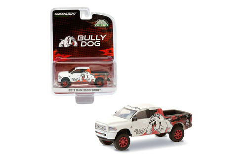 2017 Dodge Ram 3500 Sport Pick Up Truck - Bully Dog, White - Greenlight 30172/48 - 1/64 scale Diecast Model Toy Car