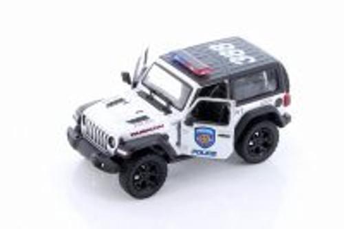 2018 Jeep Wrangler Rubicon Police Hard Top, Silver - Kinsmart 5412DPR - 1/34 scale Diecast Model Toy Car