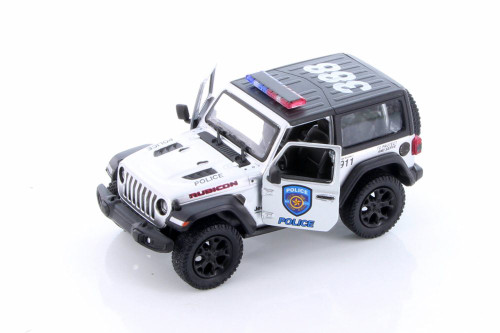 2018 Jeep Wrangler Rubicon Police Hard Top, Silver - Kinsmart 5412DPR - 1/34 scale Diecast Model Toy Car