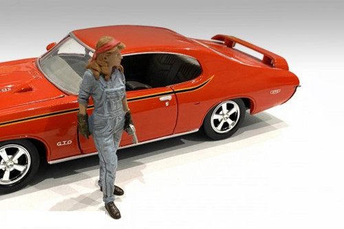 Retro Female Mechanic III, Blue - American Diorama 38246 - 1/18 scale Figurine - Diorama Accessory