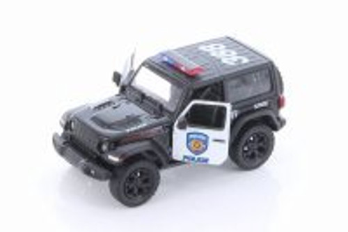 2018 Jeep Wrangler Rubicon Police Hard Top, Black and White - Kinsmart 5412DP - 1/34 scale Diecast Model Toy Car