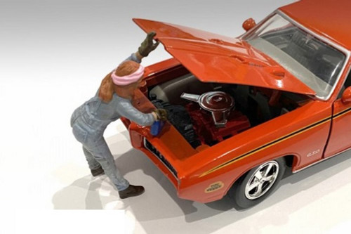 Retro Female Mechanic II, Blue - American Diorama 38345 - 1/24 scale Figurine - Diorama Accessory