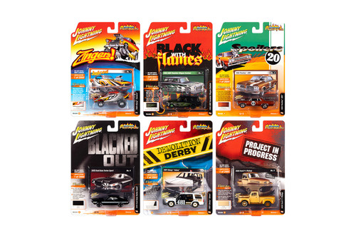 Johnny Lightning Street Freaks 2020 Release 1 Set B Diecast Car Set - Box of 6 assorted 1/64 Scale Diecast Model Cars