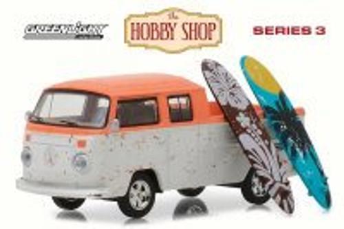 Volkswagen Type 2 Crew Cab Pickup Doka w/ Surfboards, White w/ Orange - Greenlight 97030F/48 - 1/64 Scale Diecast Model Toy Car