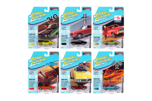 Johnny Lightning Muscle Cars USA 2020 Release 1 Set A Diecast Car Set - Box of 6 assorted 1/64 Scale Diecast Model Cars