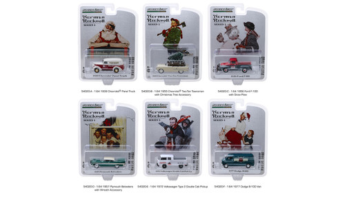 Greenlight Norman Rockwell Delivery Vehicles Series 2 Diecast Car Set - Box of 6 assorted 1/64 Scale Diecast Model Cars