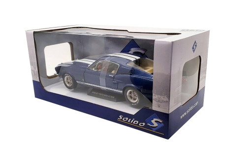 1967 Ford Mustang Shelby GT500, Nightmist Blue and White - Solido S1802903 - 1/18 scale Diecast Model Toy Car