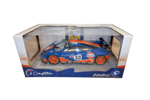 1996 McLaren F1GTR Short Tail #33 Le Mans 24 Hour Bellm/Letho/Weaver, Blue and Orange - Solido S1804101 - 1/18 scale Diecast Model Toy Car