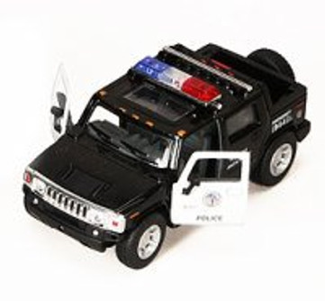 2005 Hummer H2 SUT Police Pickup Truck, Red - Kinsmart 5097DP - 1/40 scale Diecast Model Toy Car