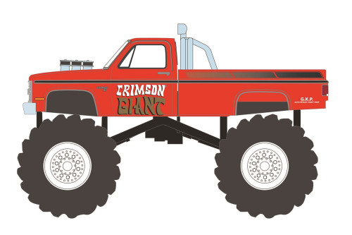 Kings of Crunch 1987 Chevy Silverado Monster Truck, Crimson Giant - Greenlight 49080F/48 - 1/64 scale Diecast Model Toy Car