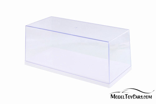 Acrylic Display Case (with 3 background designs), White Base - ModelToyCars 9919W - 1/18 Scale Accessory