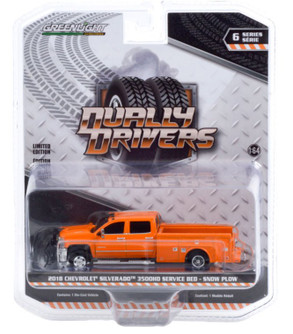 2018 Chevy Silverado 3500 Dually Service Bed with Snow Plow, Tangier Orange - Greenlight 46060B/48 - 1/64 scale Diecast Model Toy Car