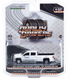 101 Running Indy 500 Presented by PennGrade Motor Oil Official Truck 2017 Chevy Silverado 3500 Dually, White - Greenlight 46060A/48 - 1/64 scale Diecast Model Toy Car