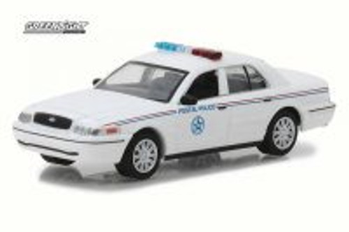 2010 Ford Crown Victoria United States Postal Service Police, White - Greenlight 29891/48 - 1/64 Scale Diecast Model Toy Car