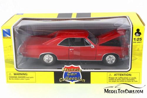 1966 Pontiac GTO, Black - New Ray 71853B - 1/24 Scale Diecast Model Toy Car