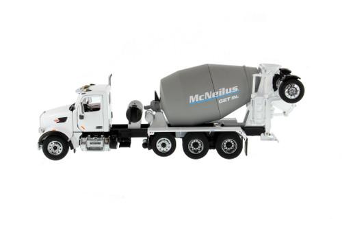 Peterbilt 567 SFFA McNeilus Bridgemaster Concrete Mixer, White and Gray - Diecast Masters 71074 - 1/50 scale Diecast Model Toy Car