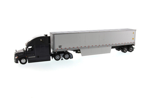 Freightliner New Cascadia SBFA Sleeper Cab Truck Tractor with Dry Cargo Van, Black and White - Diecast Masters 71047 - 1/50 scale Diecast Model Toy Car