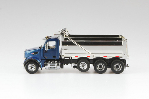 Peterbilt 567 SFFA Tandem Dump Truck with Lift Axle, Legendary Blue and Chrome - Diecast Masters 71073 - 1/50 scale Diecast Model Toy Car