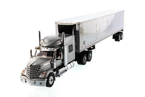 International LoneStar Sleeper SFFA Tandem Cab Truck Tractor with Refrigerated Van, Gray and Silver - Diecast Masters 71043 - 1/50 scale Diecast Model Toy Car