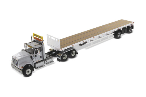 International HX520 SFFA Tandem Tractor with Flat Bed Trailer, Light Gray and Silver - Diecast Masters 71041 - 1/50 scale Diecast Model Toy Car