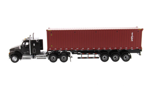 Kenworth T880 SFFA Tandem Cab Truck Tractor with Skeleton Trailer and TEX Shipping Dry Goods Sea Container, Black and Red - Diecast Masters 71060 - 1/50 scale Diecast Model Toy Car