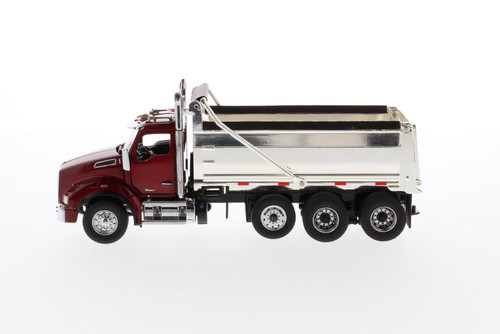 Kenworth T880 SBFA Tandem Dump Truck with Lift Axle, Radiant Red and Chrome - Diecast Masters 71059 - 1/50 scale Diecast Model Toy Car