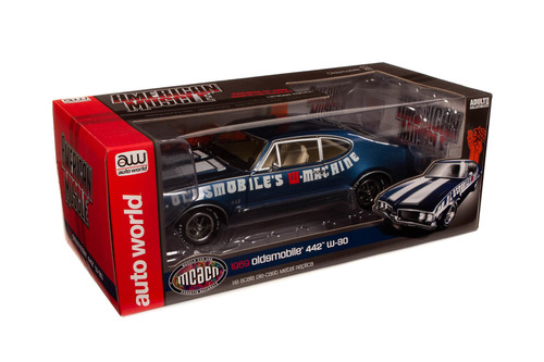 Muscle Car & Corvette Nationals (MCACN) 1969 Oldsmobile 442 W-30, Trophy Blue and White - Auto World AMM1235 - 1/18 scale Diecast Model Toy Car