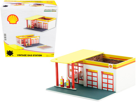 Vintage Gas Station Shell Oil, Yellow - Greenlight 57073 - 1/64 scale Diorama Accessory
