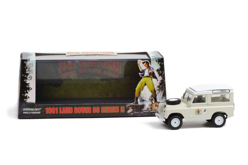 """1961 Land-Rover 88"""" Series LLA Station Wagon, Ace Ventura """"When Nature Calls"""" - Greenlight 86562 - 1/43 scale Diecast Model Toy Car"""