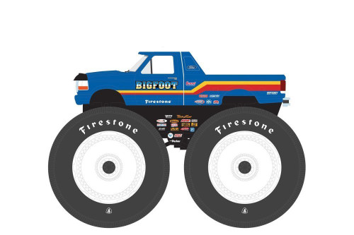 Kings of Crunch 1996 Ford F-250 Monster Truck-Bigfoot #7, Blue - Greenlight 49050F/48 - 1/64 scale Diecast Model Toy Car