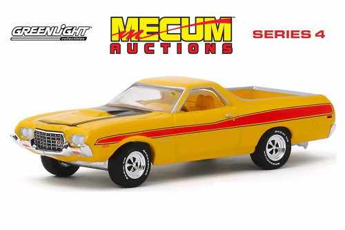 1972 Ford Ranchero GT, Yellow and Red - Greenlight 37190D/48 - 1/64 scale Diecast Model Toy Car
