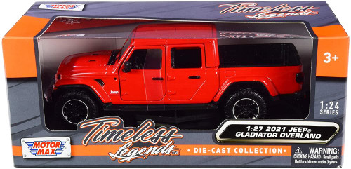 2021 Jeep Gladiator Overland (Hard Top), Red - Motor Max 79365R - 1/27 scale Diecast Model Toy Car