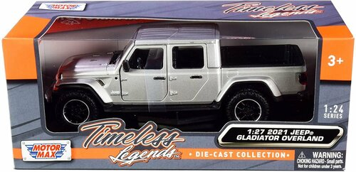 2021 Jeep Gladiator Overland (Hard Top), Silver - Motor Max 79365SV - 1/27 scale Diecast Model Toy Car