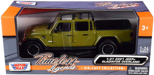 2021 Jeep Gladiator Overland (Open Top), Green - Motor Max 79367GN - 1/27 scale Diecast Model Toy Car
