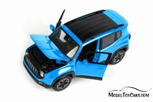 2017 Jeep Renegade SUV, Blue - Maisto 31282BU - 1/24 scale Diecast Model Toy Car