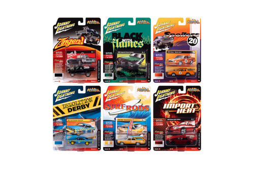 Johnny Lightning Street Freaks 2020 Release 4 Set B Diecast Car Set - Box of 6 assorted 1/64 Scale Diecast Model Cars