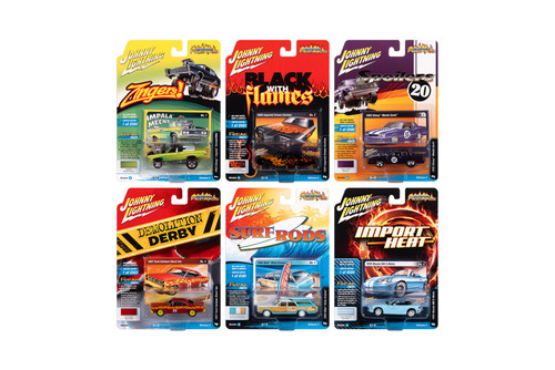 Johnny Lightning Street Freaks 2020 Release 4 Set A Diecast Car Set - Box of 6 assorted 1/64 Scale Diecast Model Cars