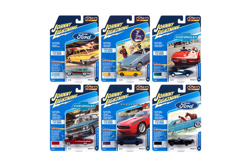 Johnny Lightning Classic Gold 2020 Release 3 Set B Diecast Car Set - Box of 6 assorted 1/64 Scale Diecast Model Cars