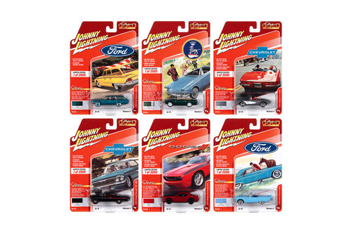 Johnny Lightning Classic Gold 2020 Release 3 Set A Diecast Car Set - Box of 6 assorted 1/64 Scale Diecast Model Cars