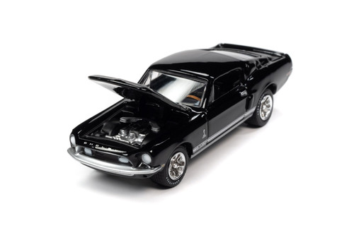 1968 Ford Mustang Shelby GT-350, Raven Black - Johnny Lightning JLSP109/24A - 1/64 scale Diecast Model Toy Car