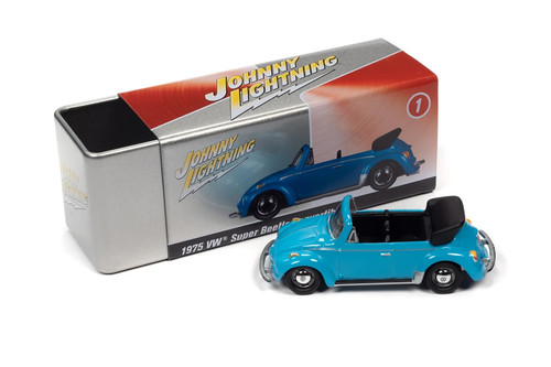 1959 Volkswagen Super Beetle Convertible Top Down, Miami Blue - Johnny Lightning JLSP107/24A - 1/64 scale Diecast Model Toy Car